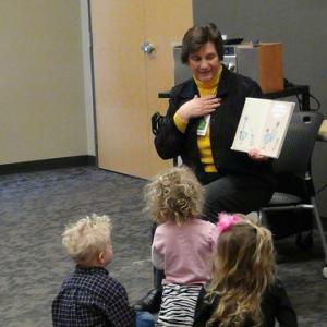 Librarian Karen Lucas conducts preschool storytime at the Sequoya Library