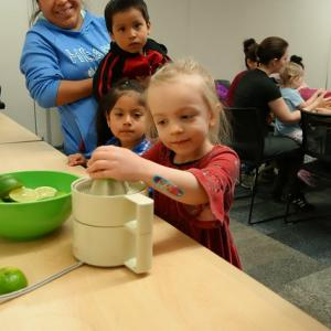 young kids at MEA Preschool Storytime with Chef Lily