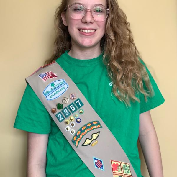 Libby Scanlon in her Girl Scout Sash