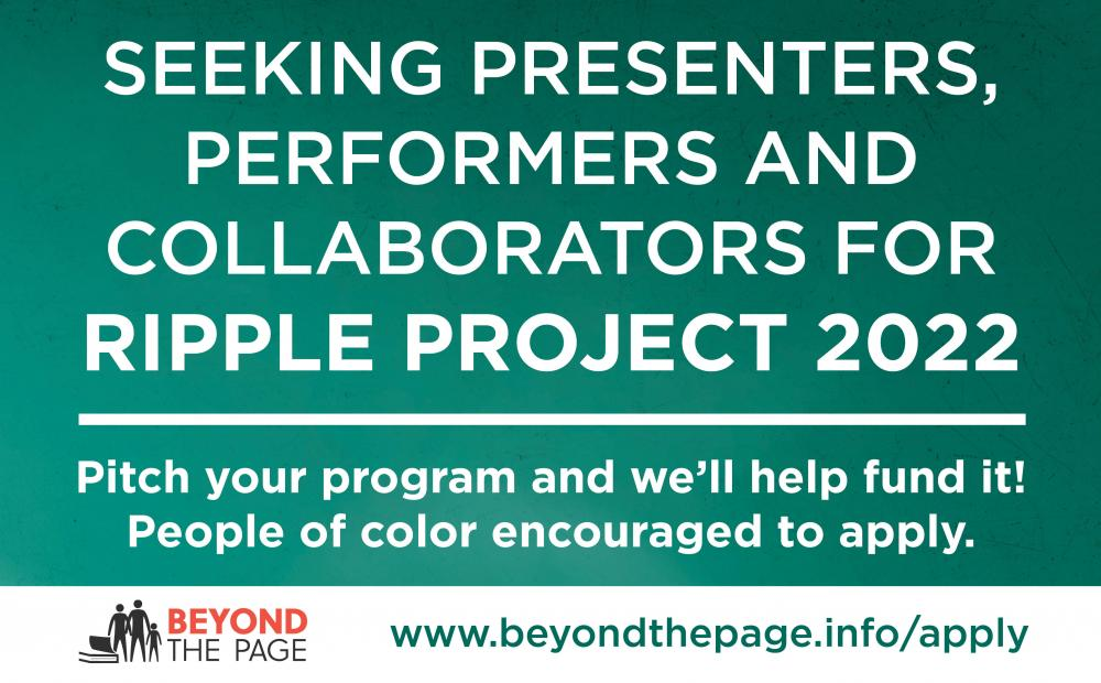 Beyond the Page funding available for 2022 programs on racial equity for the Ripple Project 2022
