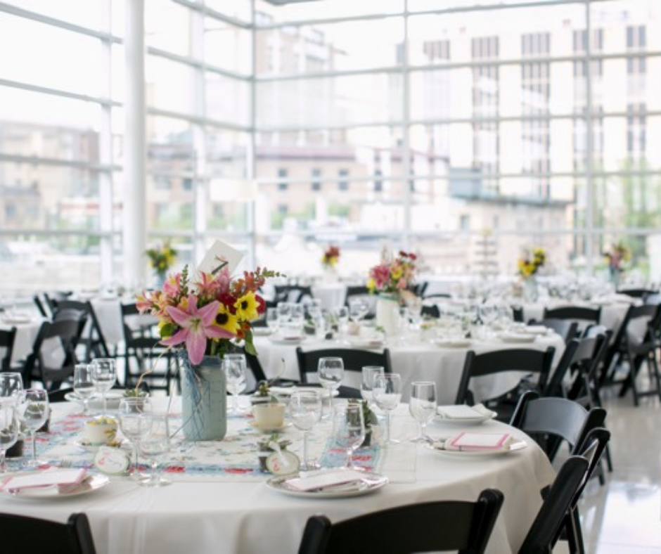 Table setting for wedding at Central Library
