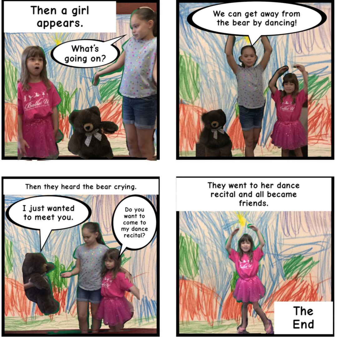 A comic about a bear made by two girls in the library