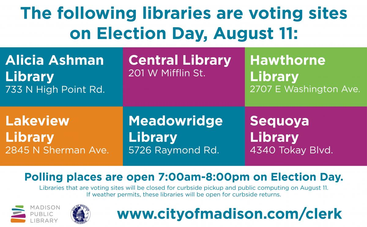 Election Day Voting Locations at Madison Public Library for the August 11 Partisan Primary