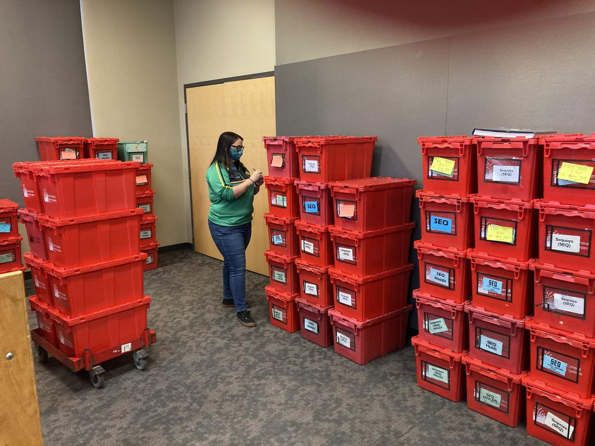 Emer Dahl surrounded by red bins of books