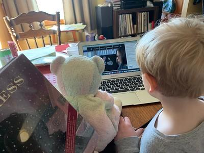 A child with a teddy bear looking at a laptop.