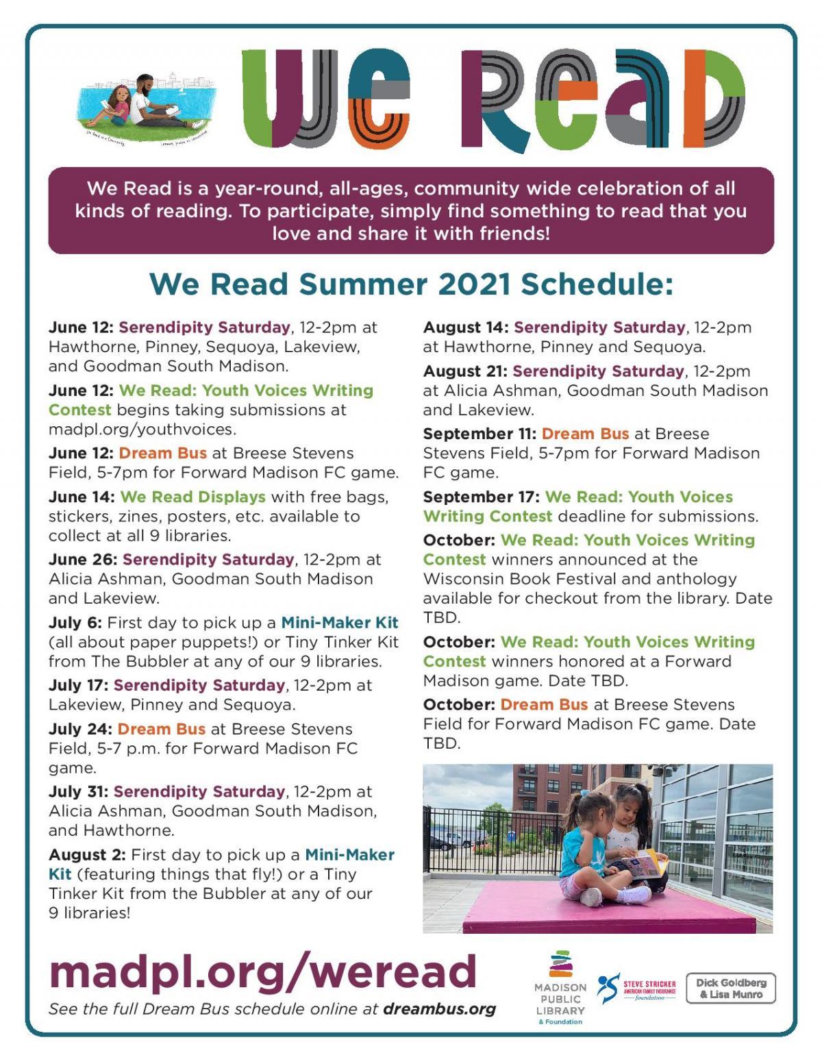 We Read Summer 2021 Event Calendar
