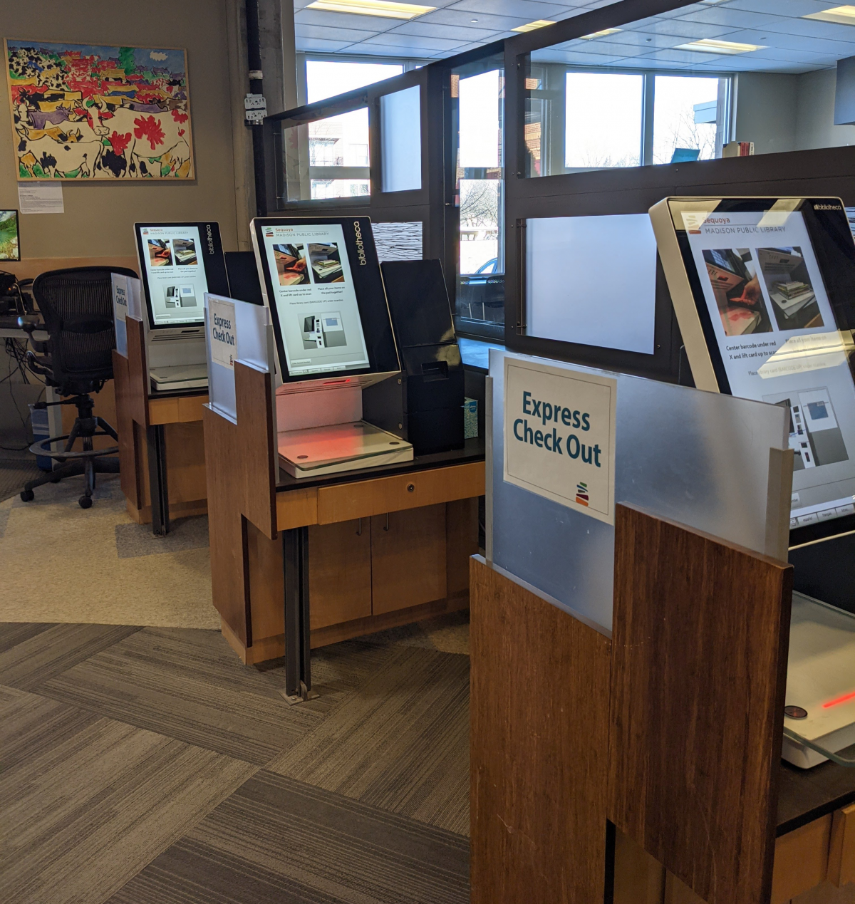 Self-check machines at Madison Public Library