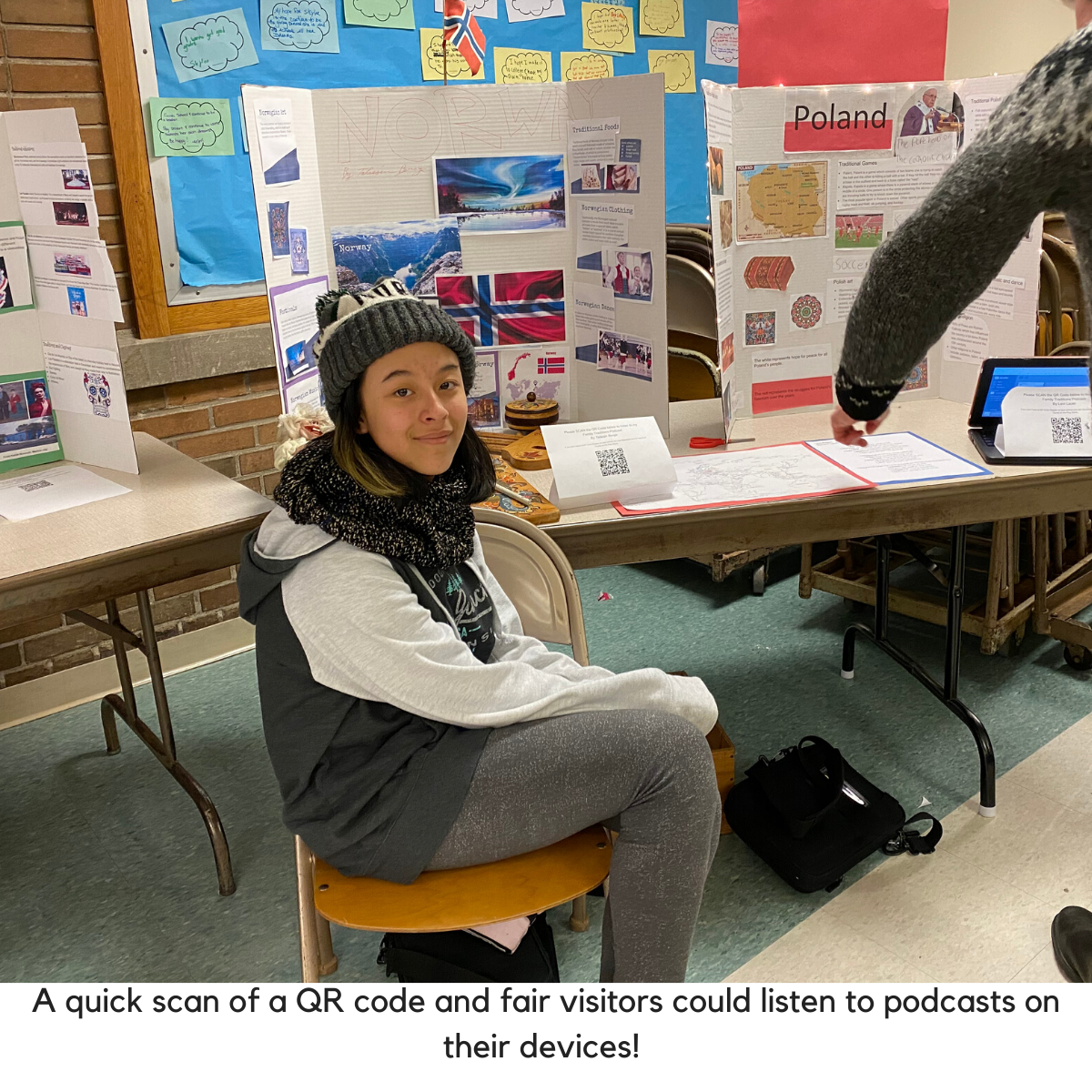 Student shows QR code for podcast listening