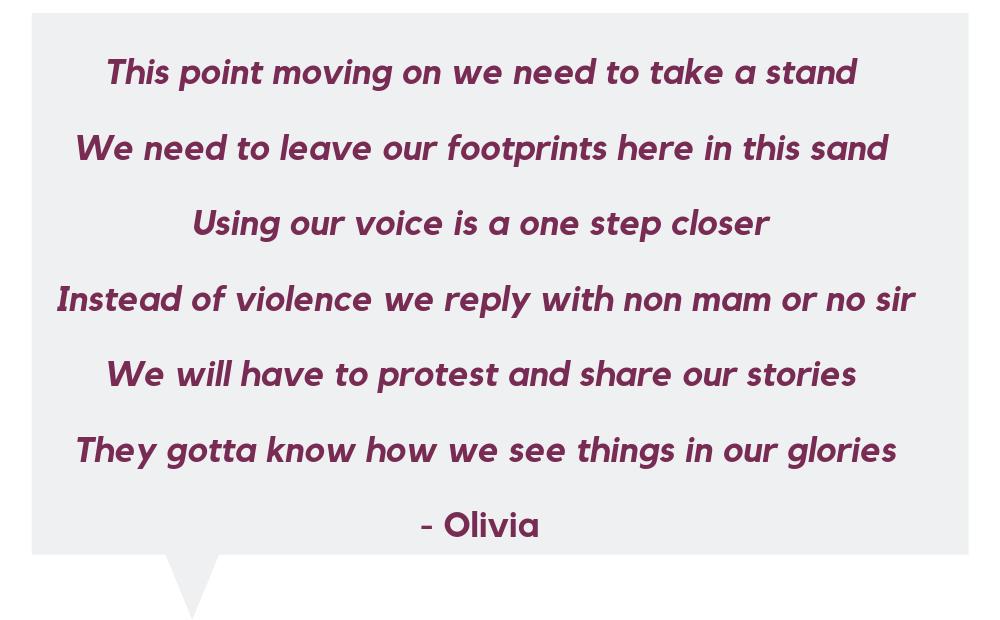 Olivia - spoken word finalist