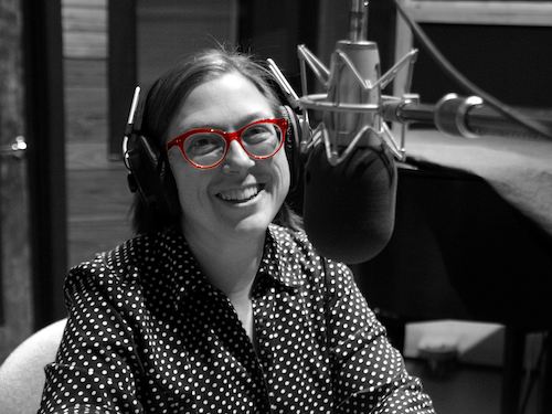 photo of Carissa in the recording booth