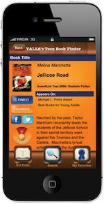 screenshot of Teen Book Finder app