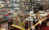 Books and materials for sale within the Friends of Sequoya's storefront at Westgate Mall