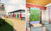 Two renderings of each artist's public art piece at new Pinney Library