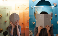 Artists holding book in front of their face