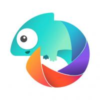 rainbow colored chameleon with a tail that looks like a camera shutter
