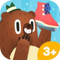 Cartoon Bear with green hat holds a pink ice skate and giggles behind his paw