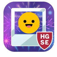 A smiley face inside a polaroid type frame in front of a purple fireworks scene.  in the bottom right corner is a red shield with white letters H G S E