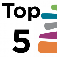 the words top five and half the madison public library logo
