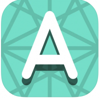 white letter A on a patterned green background