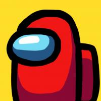 character in red space suit on a yellow background