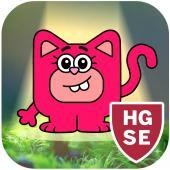 Pink cartoon cat in a spotlight with a shield symbol in the corner marked H G S E