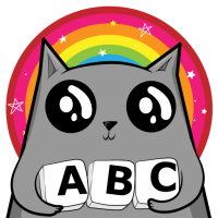 gray cat holds letter tiles with A B C in front of a rainbow circle