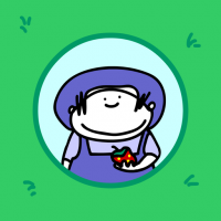 person in a blue hat holding a strawberry is pictured in a circle surrounded by grass