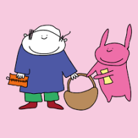 person and pink rabbit hold a basket, person has a walllet