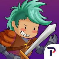 kid with green hair and a determined grin is wearing armor and carrying a sword