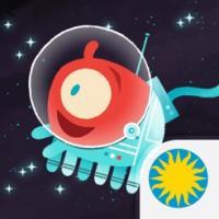 red, multi-legged cute alien floats in a space suit