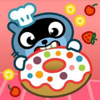 Raccoon chef bites into giant donut with rainbow sprinkles