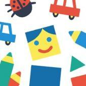 A jumble of colorful playthings including a yellow square face with blue hair, blue eyes and a red mouth, a red and blue toy car, red, blue and green crayons and a ladybug