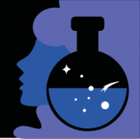 woman's purple silhouette behind scientific symbols