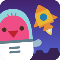 Robin the pink bird waves in a space suit, yellow rocketship in the background on a purple lunar landscape