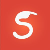 A white letter S with a hand as the top of the letter is on a red background