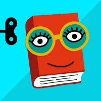 A red book with large yellow glasses, big eyes and a small smile on a blue background