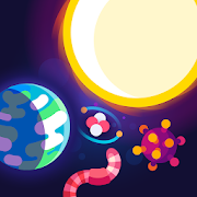 Sun, planet, worm and cell scattered across a dark purple background